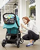 Universal Fit Stroller Organizer In Black With Storage Space, Insulated Cup Holders, Attachable Shoulder Strap, And Mesh Accessory Bag Perfect Baby Shower Gift By 825 South
