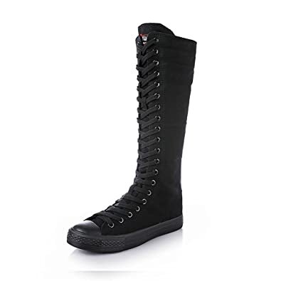 95ff93fa4da0 Knee High Woman Boots Tall Classic Canvas Sky High Lace up Stylish Punk  Flat Sneaker Boots