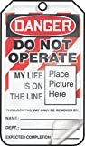 Accuform MLT600LTP HS-Laminate Lockout Tag, Legend''DANGER DO NOT OPERATE MY LIFE IS ON THE LINE'', 5.75'' Length x 3.25'' Width x 0.024'' Thickness, Red/Black on White (Pack of 25)