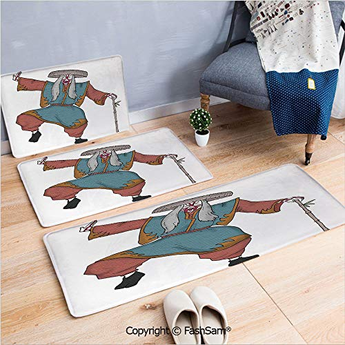 FashSam 3 Piece Flannel Doormat Cultural Asian Character Posing Traditional Hat Makeup and Costume Decorative for Kitchen Rugs Carpet(W15.7xL23.6 by W19.6xL31.5 by W35.4xL62.9) -