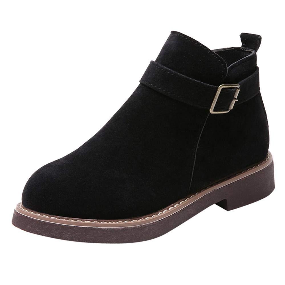 Logobeing Botines Mujer Planos Hebilla Correa de Gamuza Botas de Mujer Tacon Medio Zapatos y Complementos Combat Casuales Altas Boots(35,Caqui): Amazon.es: ...