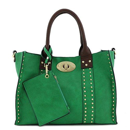 3pc Set Studded Turn Lock Tote Bag with Crossbody (Kelly - Handbag Bag Kelly