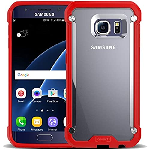 Samsung Galaxy S7 Case, Sivart Samsung Galaxy Case Shock-Absorption Bumper Anti Scratch Clear Back Ultra Thin Phone Case for Samsung Galaxy S7 (Red) Sales