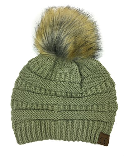 Plum Feathers Soft Stretch Cable Knit Ribbed Faux Fur Pom Pom Beanie Hat (New Sage)