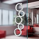 Olympic Rings Aluminium Alloy Chrome Finish Modern Entrance Entry Commercial Office Store Front Door Handlesets Wood Timber Frameless Glass Business Office Door Pull Push Handles Double-sided (Double Doors 2 Pairs 4 Handles)