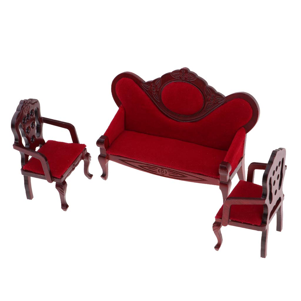 Prettyia 1/12 Dollhouse Miniature Living Room Furniture Garden Decor Wine  Red Sofa Couch Set Kids Pretend Play Toy