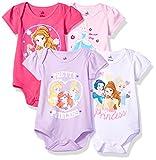 Disney Baby Girls' Princess 4-Pack Short Sleeve Bodysuit, Hot Pink/White/Lilac/Light Pink, 6-9M