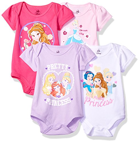 Disney Baby Girls' Princess 4-Pack Short Sleeve Bodysuit, Hot Pink/White/Lilac/Light Pink, 3-6M (2)