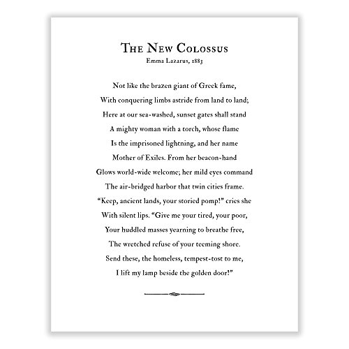 Art of Observation The New Colossus Poem Archival Print Black and White (11 inches x 14 inches)