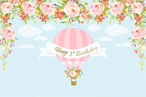 (AOFOTO 7x5ft Sweet Girl Happy 1st Birthday Backdrop Abstract Clouds Watercolor Flowers Hot Air Balloon in Sky Photography Background Bday Party Decor Banner Baby Infant Photo Studio Props)