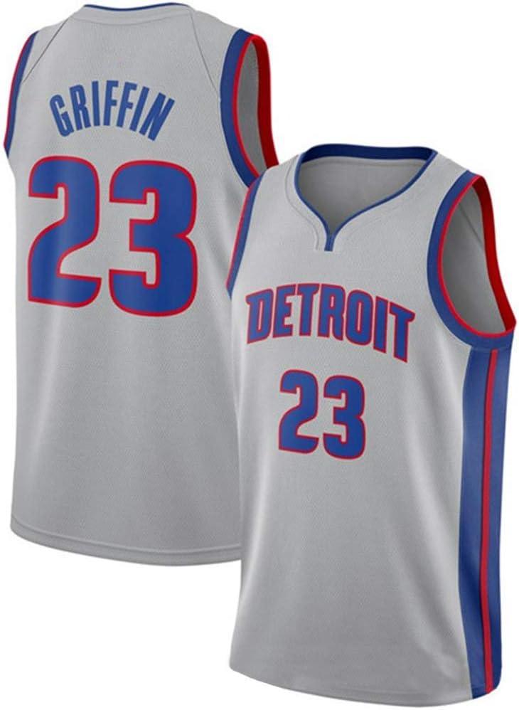 Detroit Pistons Blake Griffin # 23 Mens Basketball Jersey Urban Edition Embroidered Sweatshirt T-Shirt Sweatshirt Tracksuit Breathable Mesh Fan Suits,Black-XXL