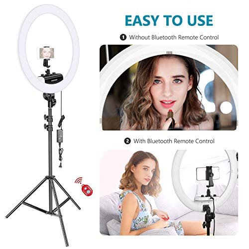 Neewer Ring Light Kit [Upgraded Version-1.8cm Ultra Slim] - 18 inches, 3200-5600K, Dimmable LED Ring Light with Light Stand, Rotatable Phone Holder, Hot Shoe Adapter for Portrait Makeup Video Shooting by Neewer (Image #6)