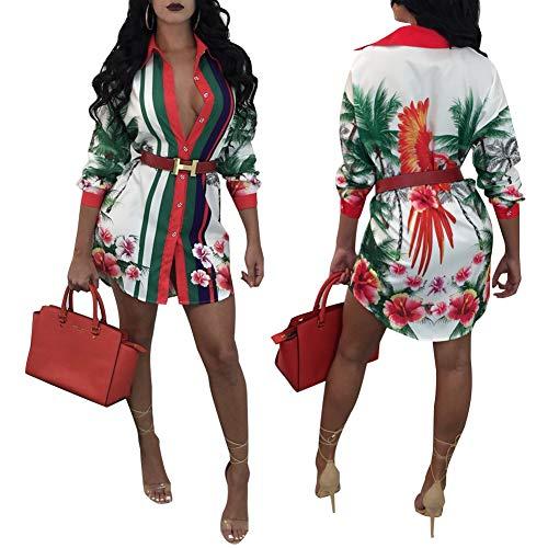 Women's Helios Stripe T-Shirt Dress - Button Down Long Sleeve Collar Loose Blouse Tops Mini Dress White-1 XXL -