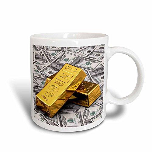 3dRose Mug Gold bars bar bullion cash money dollar hundred bill bills bank note banknote finance concept (mug_155096_3) - 11oz - Transforming, - Notes Concept