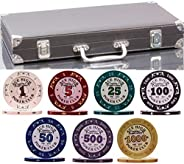 320 Piece Pro Poker Clay Poker Set - 2X Plastic Cards with Cutting Cards - Reinforced Leather case - Free Poke