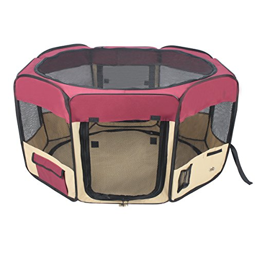 Foldable Play Pen Exercise Kennel Dogs Cats Indoor/outdoor tent for small medium large pets Animal Playpen with Pop up mesh cover great for travel LARGE