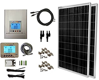 WindyNation 200 Watt (2pcs 100 Watt), 12 24 Volt Solar Panel + MPPT Solar Charge Controller Complete Kit for RV's, Boats and Off-Grid ...