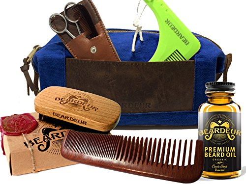Beard Grooming Starter Set for Mens Beard Care – Beard Brush, Leave In Conditioner Oil, Hair & Mustache Comb, Trimming Scissors – All in a Vintage Leather Toiletry Dopp Travel Bag