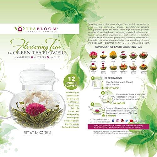 Teabloom Natural Flowering Tea - 12 Unique Varieties of Blooming Tea Balls - Hand-Tied Green Tea & Edible Flowers - 12-Pack Gift Canister - 36 Steeps, Makes 250 Cups by Teabloom (Image #2)