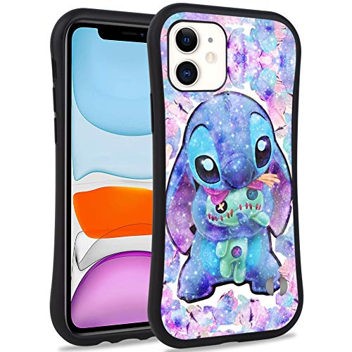 DISNEY COLLECTION iPhone 11 6.1inch Case Lilo Stitch Pattern Small Waist Design Hard PC Shield+Soft TPU Bumper Shockproof Protective Cover for iPhone 11(2019)