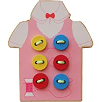 CyCspriqh Kids Children Wooden Sew-on Buttons Lacing Board Toddler Early Education Toy - Pink