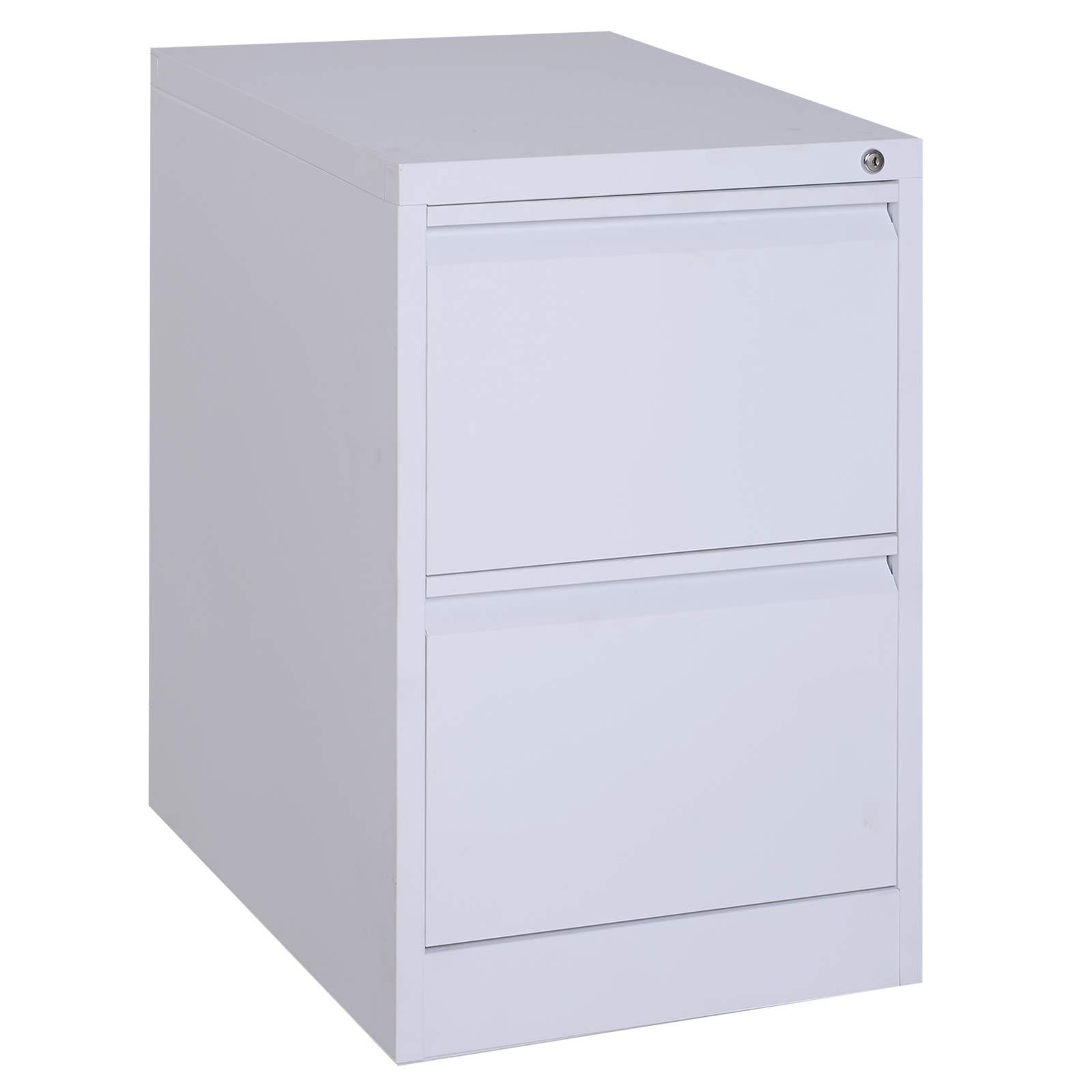 Vinsetto 28'' Metal 2 Drawer Vertical Locking Filing Cabinet - White