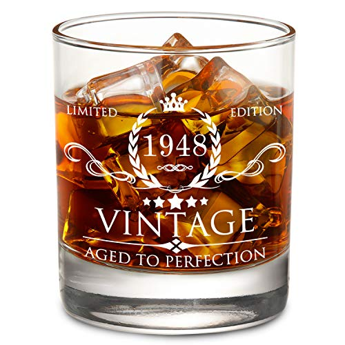 1948 70th Birthday Gifts for Men and Women Lowball Whiskey Glass- Vintage Funny Anniversary Gift Ideas for Mom, Dad, Husband, Wife - 11oz Bourbon Scotch Glass - Party Favors, Decorations -