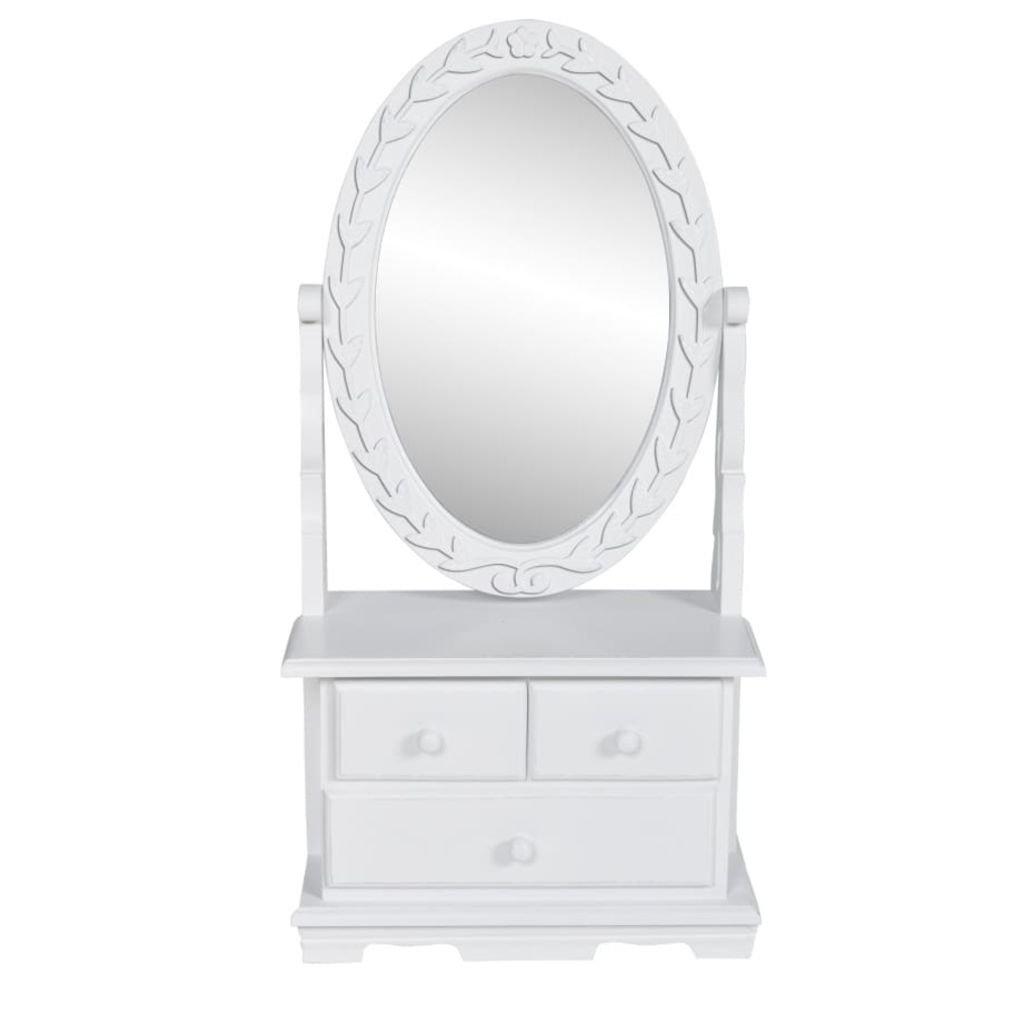 SENLUOWX Toeletta in Legno con 3cassetti e specchio girevole