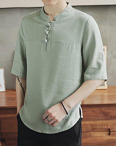 Hombre 1 Chino Tops Shirts 2 Manga Casual Basicas De Lino Claro Verde Camiseta Camisas qvPatIv