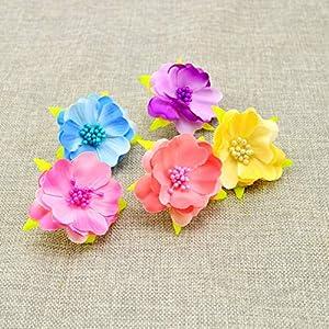 Tokyo Summer 10Pcs Artificial Flowers for Wedding Decoration Silk Stamens for Needlework DIY Handmade Bride Wreath Accessories Pompom,Milk White 2