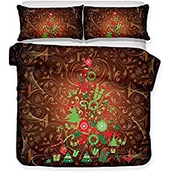 SINOVAL Lovely Cartoon Merry Christmas 3D Bedding Set Print Duvet Cover Set Lifelike Bed Sheet Without Any Filling (46, Twin),Fashion