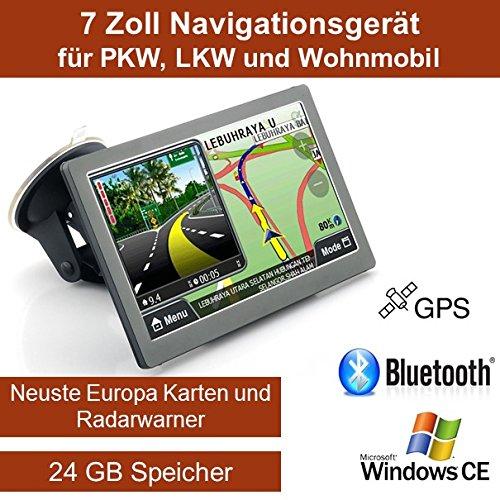 Elebest 17,8cm 7 Zoll Navigationsgerä t, mit 24 GB Speicher, Fü r PKW,LKW,Wohnmobil,GPS,Navigation,Freisprecheinrichtung,Bluetooth,Kostenlose Kartenupdate,Radarwarner W2018