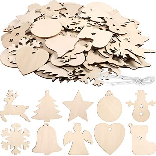 Tatuo 120 Pieces Unfinished Wooden Ornaments Christmas Wood Ornaments Hanging Embellishments Crafts for DIY, Christmas Hanging Decoration in 10 Shapes (Christmas Cut Out Ornaments)