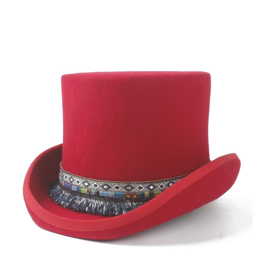 MUMUWU Men Women Elegant Steampunk Top Hat 100% Wool Wedding Hat Braided Tassel Traditional Flat Top Hat Cap (Color : Red, Size : 59CM)