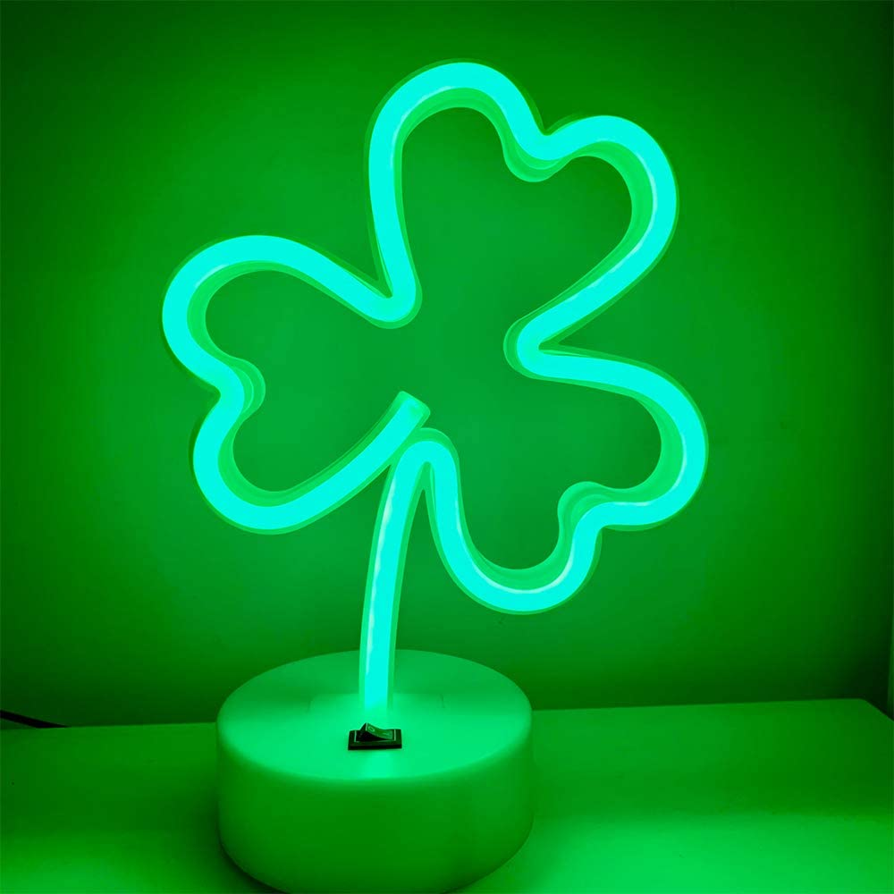 Clover Neon Signs Lights Led Cool Wall Art Aesthetic Night Neon Tube Sign Usb Battery Powered Green Lucky Decor For Wedding Birthday Birthday Party Camping Kids Room Bedroom Bar Lover Gift Shop