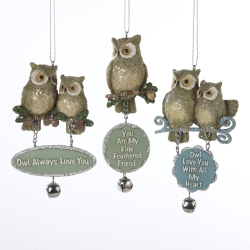 Kurt Adler Glittered Owl With Dangle Sign Ornament Set of 3