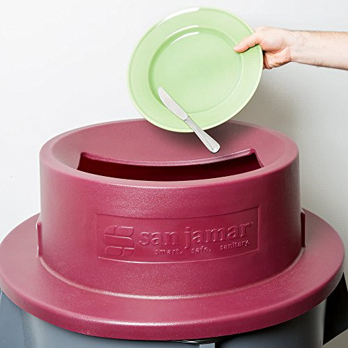 San Jamar KA5500 KatchAll Magnetic Tableware Retriever Trash Can, Round Lid