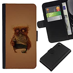 EJOY---La carpeta del tirón la caja de cuero de alta calidad de la PU Caso protector / Sony Xperia Z3 D6603 / --Divertido Weird Owl
