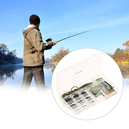 Lixada 202pcs Carpa Pesca Trastos Kit Caja Anti Manguitos Enredos Clips De Seguridad Clavijas De Rig Tubo