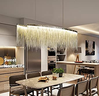 7PM W47quot X H14quot Modern Linear Aluminum Chandelier Light Pendant Lamp Contemporary