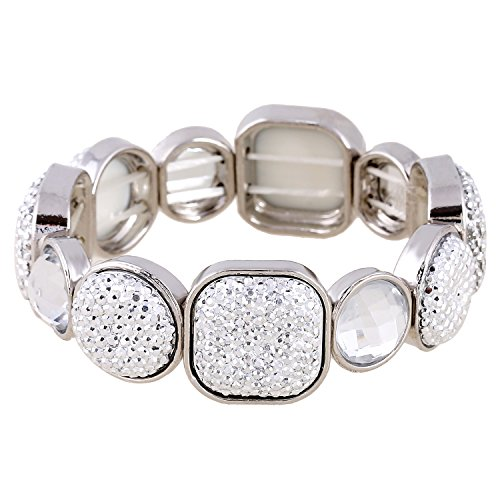D EXCEED Women's Silver Diamond Cluster Clear Resin Stone Stretch Bangle Bracelet, 7