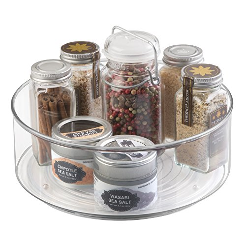 mdesign lazy susan with wall spice organizer clear import it all. Black Bedroom Furniture Sets. Home Design Ideas