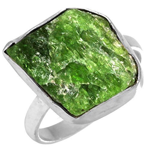 Solid 925 Sterling Silver Designer Jewelry Natural Chrome Diopside Rough Gemstone Ring Size (Designer Diopside Ring)