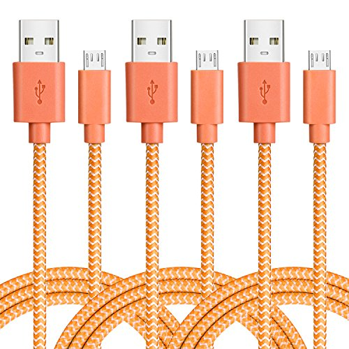 Micro USB Cable Bundle of 3 Durable 6.6ft/2m Nylon Braided T