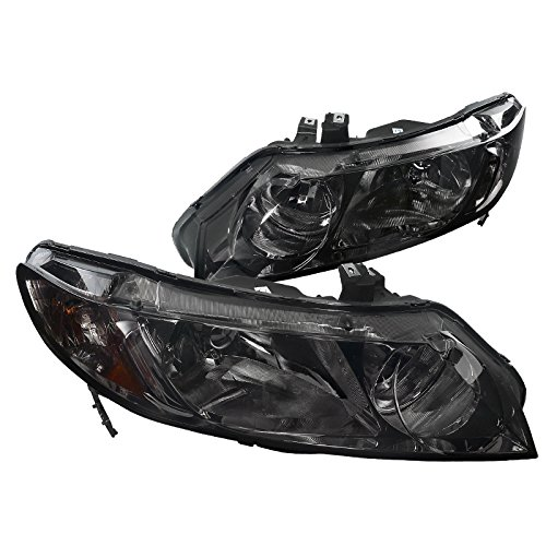 Spec-D Tuning 2LH-CV064G-RS Honda Civic 4Dr Dx Lx Ex Oem Smoke Head Lights Lamps - Civic 4dr Crystal Honda