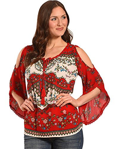 Bila Women's Cold Shoulder Angel Sleeve Blouse Red X-Large - Angel Sleeve Blouse