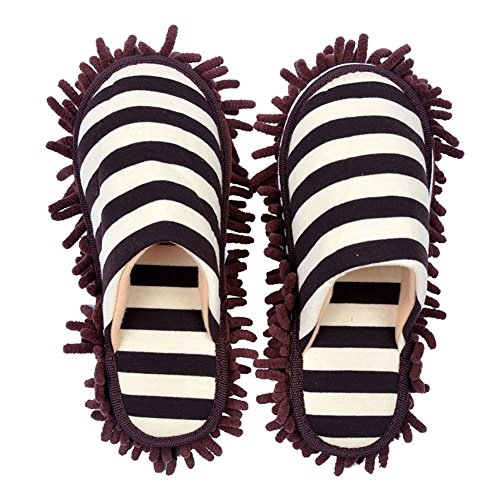 (Selric Cozy Washable Dust Mop Slippers Stripe Closed Toe Coffee, Multi-sizes Multi-Colors Available, Chenille Fibre Detachable Mop Soles, Indoor House Slippers 10 1/4 Inches Size:9.5-10)
