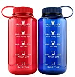 Cornucopia Brands Timed Water Bottles 32-Ounce Combo Pack (2-Pack, Blue/Red); Time Marker Tracker Goal Sports Bottles, Non-Toxic BPA-Free Tritan Plastic