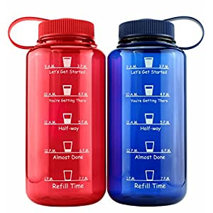 Cornucopia Brands Timed Water Bottles 32-Ounce Combo Pack (2-Pack, Blue/Red); Motivational Time Marker Tracker Goal Sports Bottles, Non-Toxic BPA-Free Tritan Plastic 51YlabKCTWL
