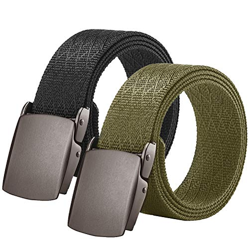 2 Pack Men Tactical Belt, Nylon Military Heavy Duty Waist Belts with Quick Release Metal Buckle